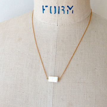 Rectangular Fortuna Pearl Necklace - rectangle shaped fresh water pearl on fine brass chain