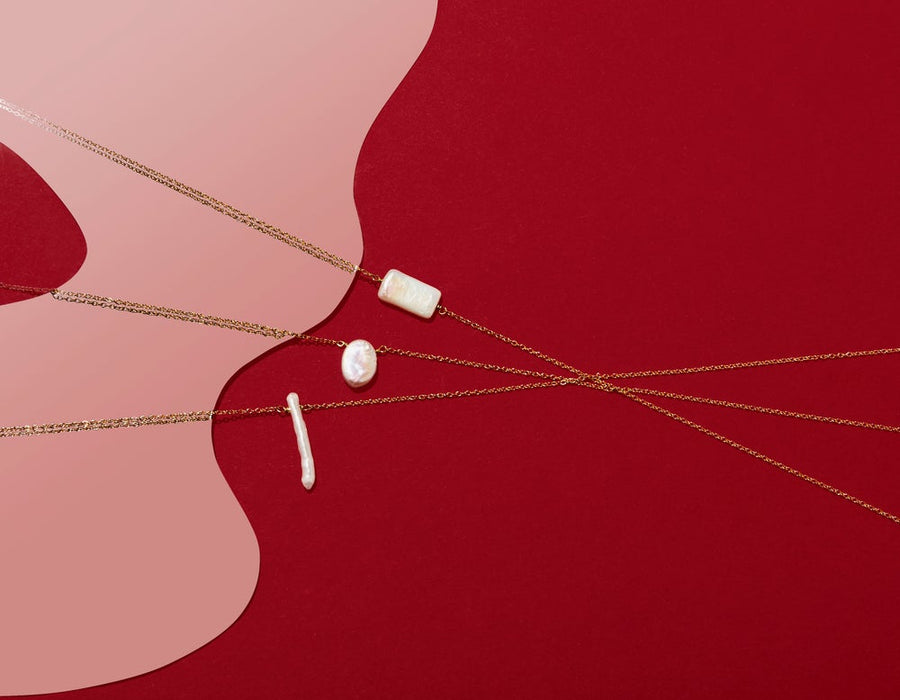 Fortuna Pearl Necklace - Rectangular, Oval and Twig shaped fresh water pearl on fine brass chain