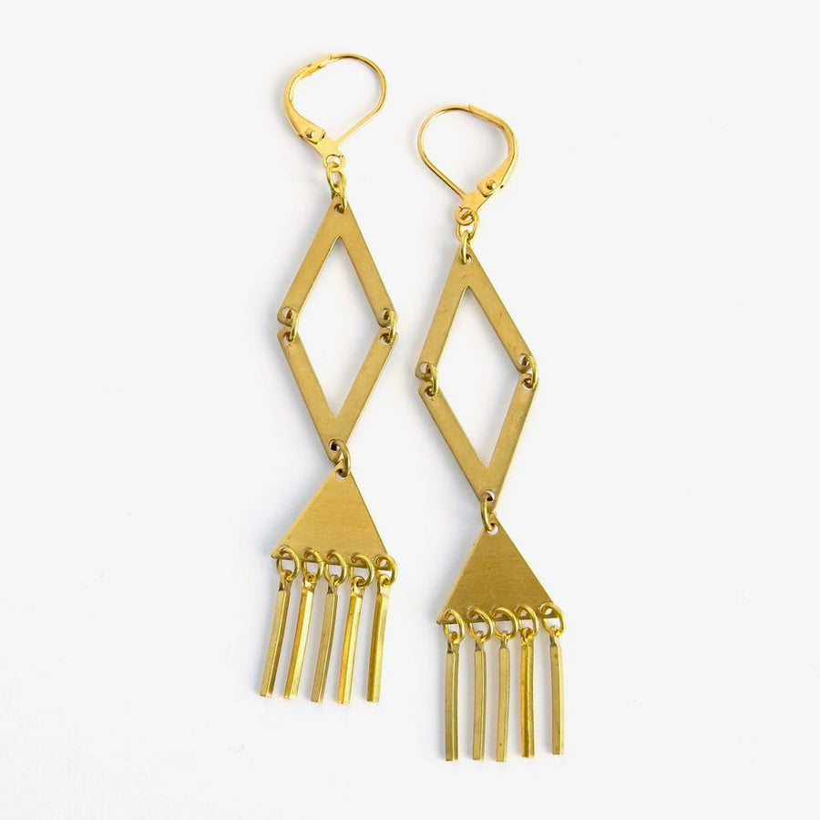 Fringe Benefits Earrings by MoonRox Jewellery & Accessories - long dangly earrings with angled shapes and fringed accents