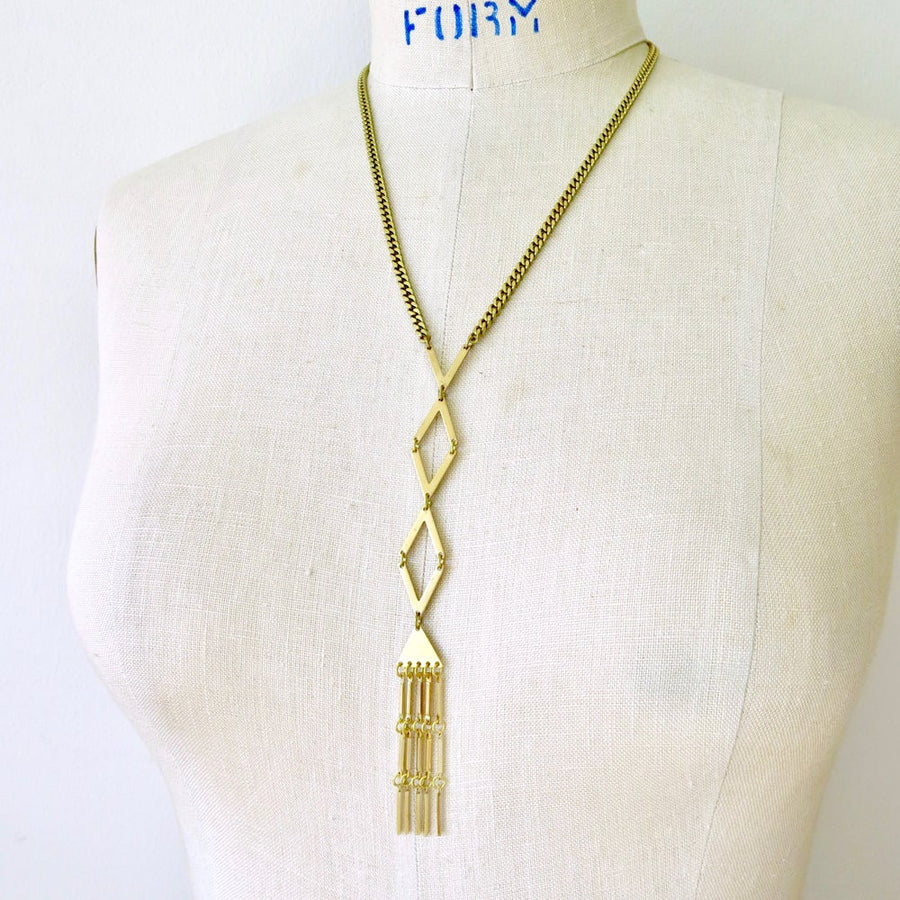 Fringe Benefits Necklace by MoonRox Jewellery & Accessories. This necklaces features angled shapes and swaying fringe.