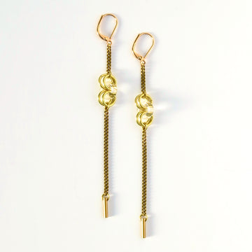 Frizzante Earrings by MoonRox - Long dangly brass chain earrings with circular clear glass accents