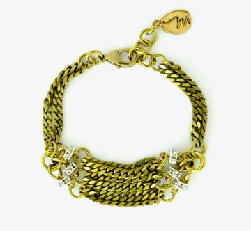 Glisten Bracelet by MoonRox Jewellery & Accessories - bracelet made of layers of brass chain with hits of crystal accents