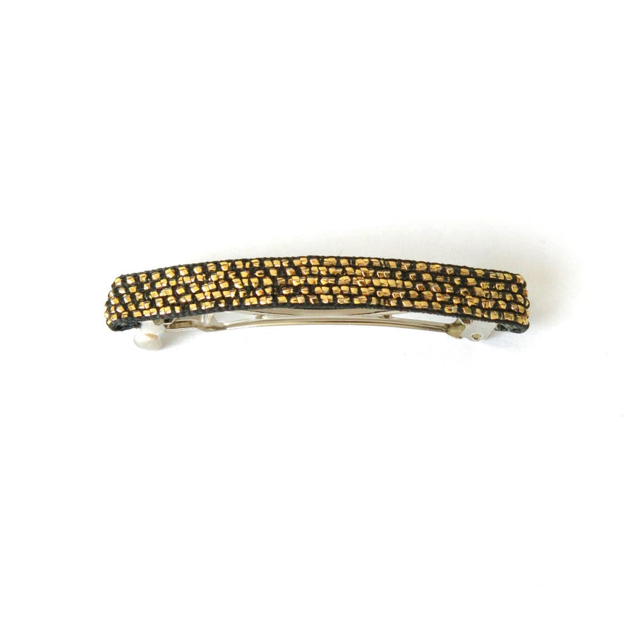 Glitz Appeal Barrette by MoonRox - spring loaded barrette features metallic gold filament with black base colour.