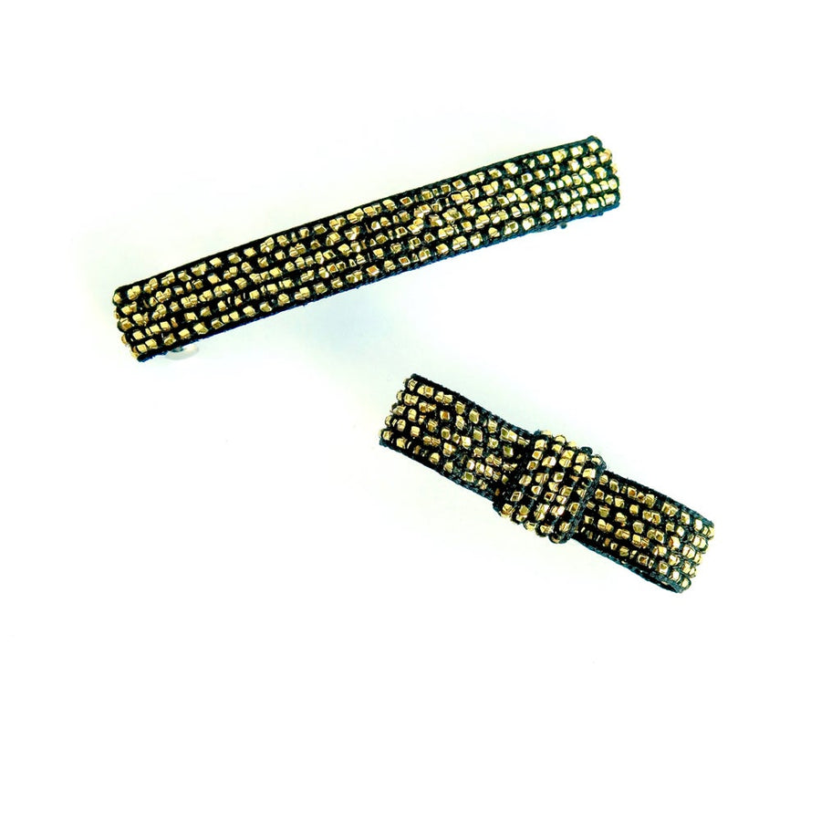 Glitz Appeal and Glitz Appeal Bow Barrettes by MoonRox - spring loaded barrettes featuring metallic gold filament with black base colour.