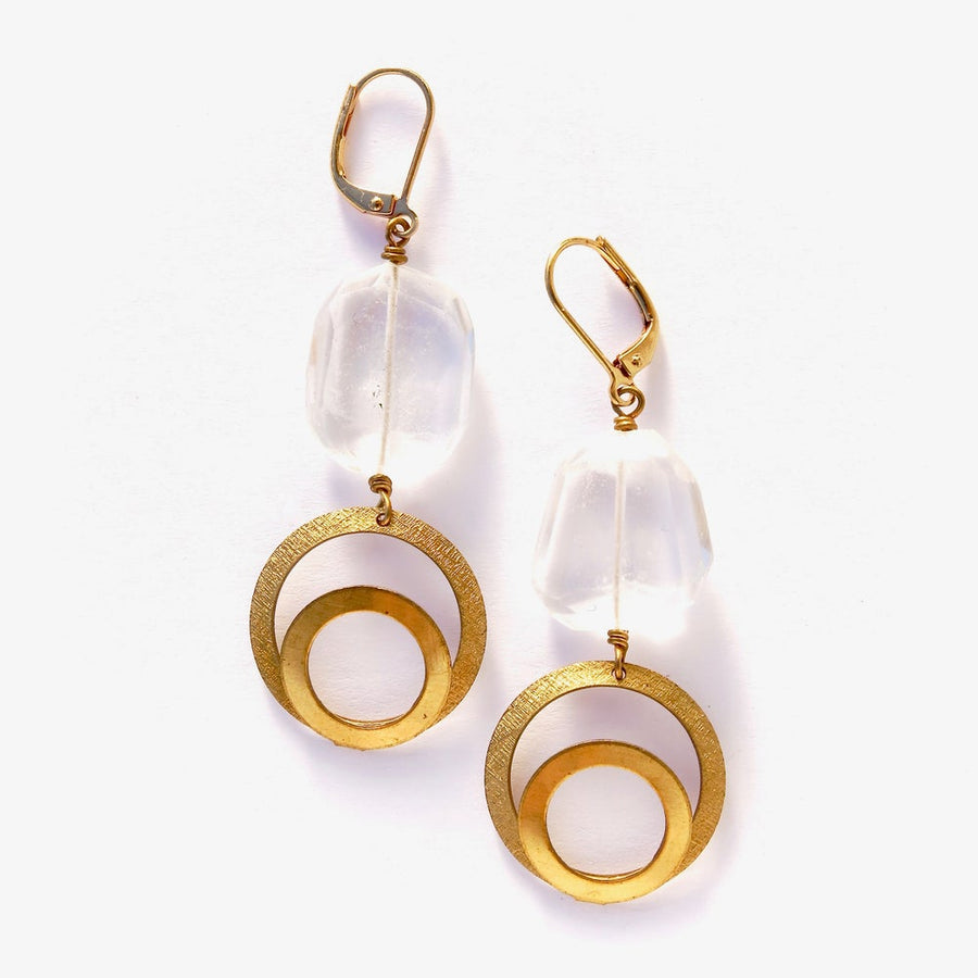 Golden Circle Crystal Quartz Earrings - Substantial irregular faceted crystal quartz stones are hand wired to brass charms with double circle motif