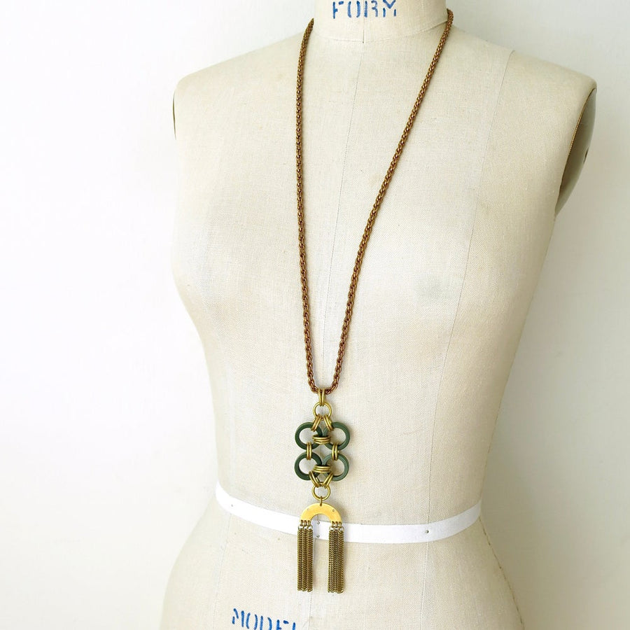 Good Fortune Necklace by MoonRox - long necklace with rope chain and pendant that combines vintage Bakelite and brass fringe.