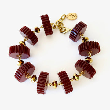 Good Times Roll Bakelite Bracelet by MoonRox - Bakelite slices are hand wired to metallic crystal beads