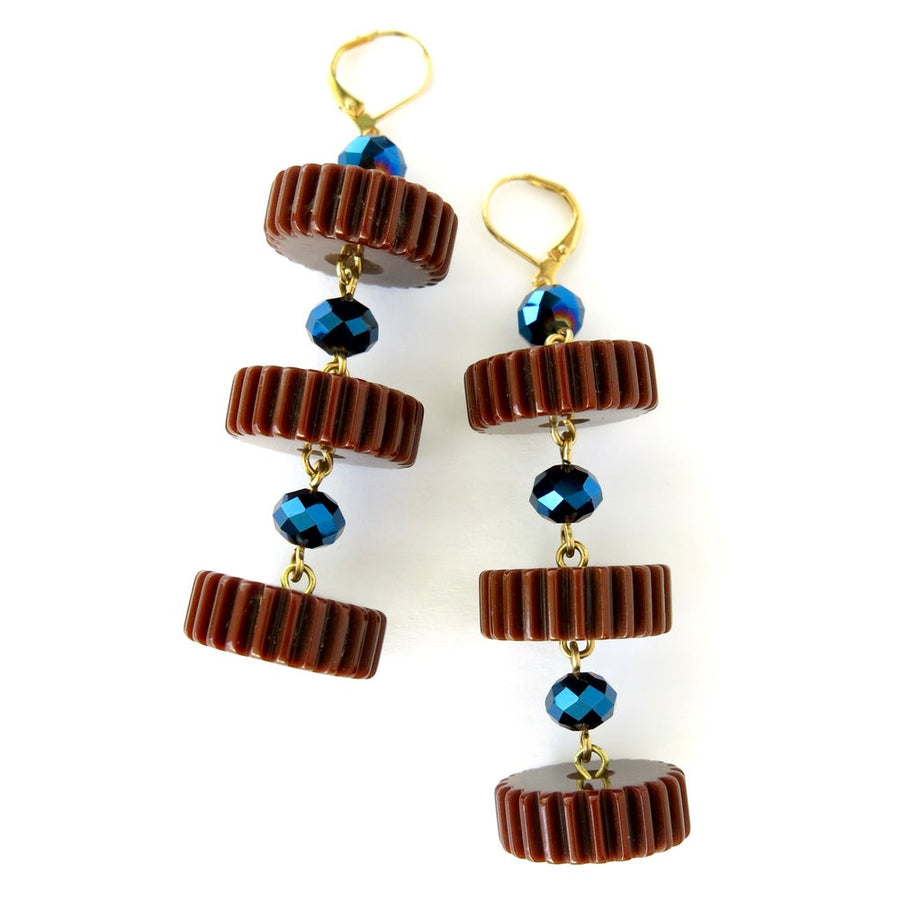Good Times Roll Earrings by MoonRox - Bakelite slices are hand wired to metallic crystal beads