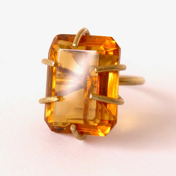 Heirloom Rox Ring in Emerald Cut by MoonRox Jewellery & Accessories - big bold vintage Amber coloured glass crystal stones are set in brass.