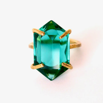 Heirloom Rox Ring in Duchess Cut by MoonRox Jewellery & Accessories - Stunning vintage emerald green glass crystal stones are set in brass. This ring is both rugged and elegant.