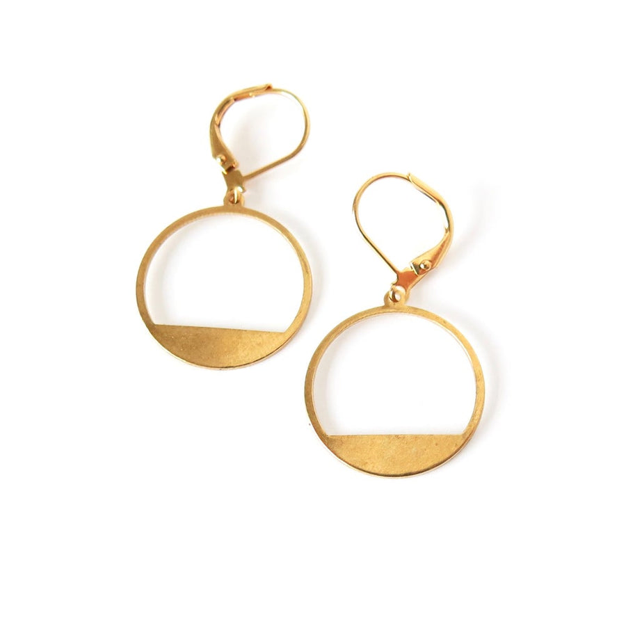 Horizon Earrings by MoonRox Jewellery & Accessories - geometric round brass charm earrings.