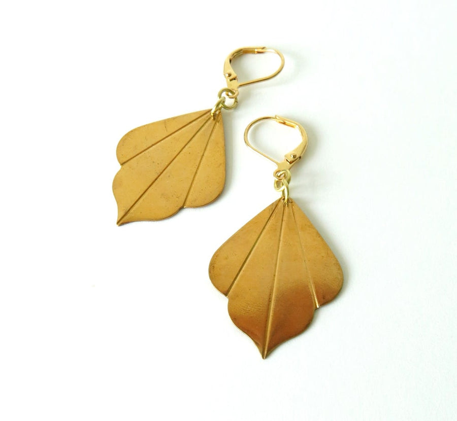 Tri-petal Earrings by MoonRox Jewellery & Accessories - charm earrings with smooth petals of brass are hung from lever-back ear wires.