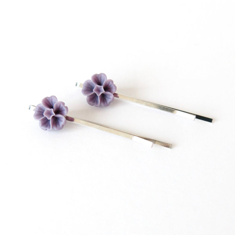 Violet Hair Pins are soft purple floral bobby pins.