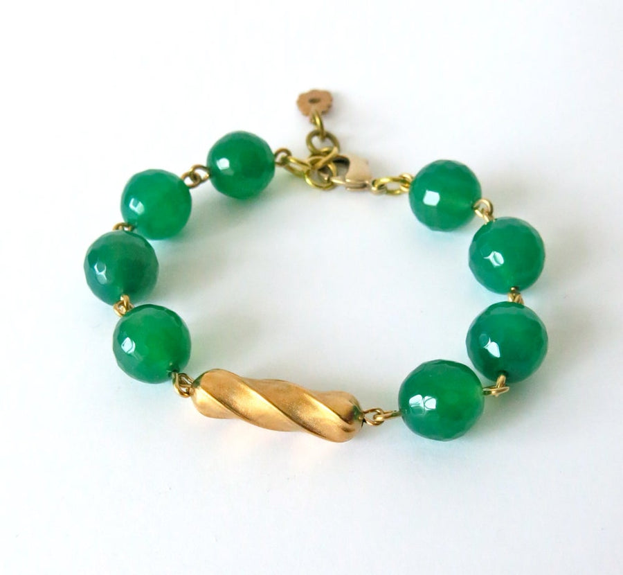 Confection Bracelet by MoonRox Jewellery & Accessories - semi-precious stone beads green agate with brass centre-piece