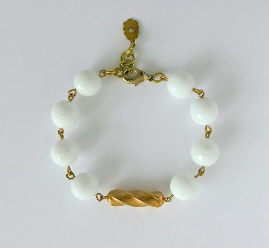 Confection Bracelet by MoonRox Jewellery & Accessories - semi-precious stone beads chalk white jade with brass centre-piece