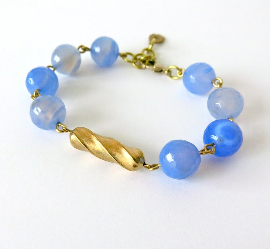 Confection Bracelet by MoonRox Jewellery & Accessories - semi-precious stone beads periwinkle agate with brass centre-piece