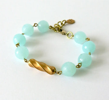 Confection Bracelet by MoonRox Jewellery & Accessories - semi-precious stone aqua agate beads with brass centre-piece