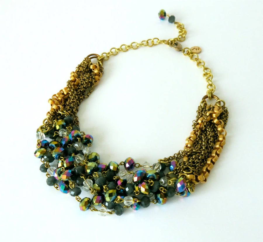 Midnight Glimmer Chain Necklace by MoonRox Jewellery & Accessories combines 7 strands of hand-wired crystals and vintage glass beads with several brass chains