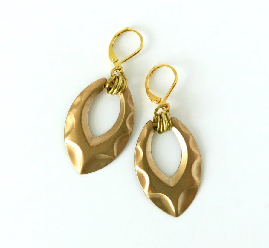 Shadow Earrings by MoonRox - Brass form with raised pattern and multiple loops hung from lever-back ear wires.
