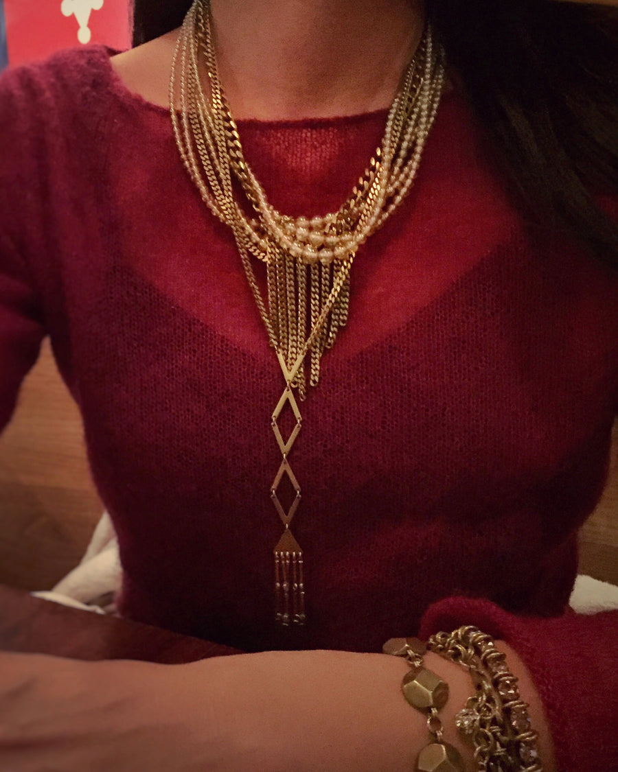 Fringe Benefits Necklace layered with many pieces of MoonRox Jewellery & Accessories