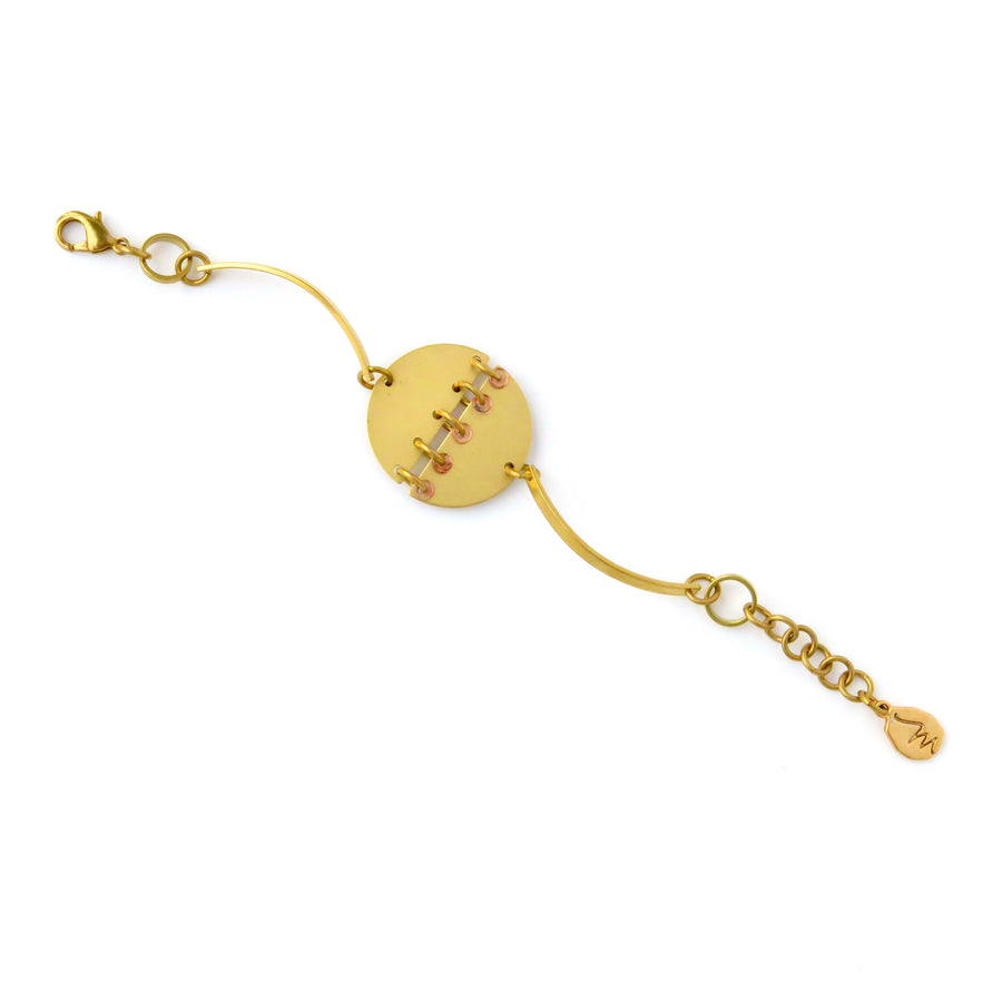 Inner Circle Bracelet by MoonRox - circular brass centrepiece with small glass loop accents.