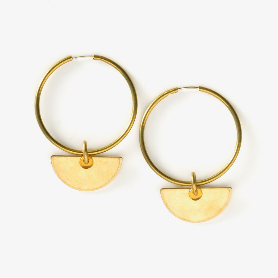 Inner Circle Hoop Earrings with removable semi-circular charms with glass loop highlights.