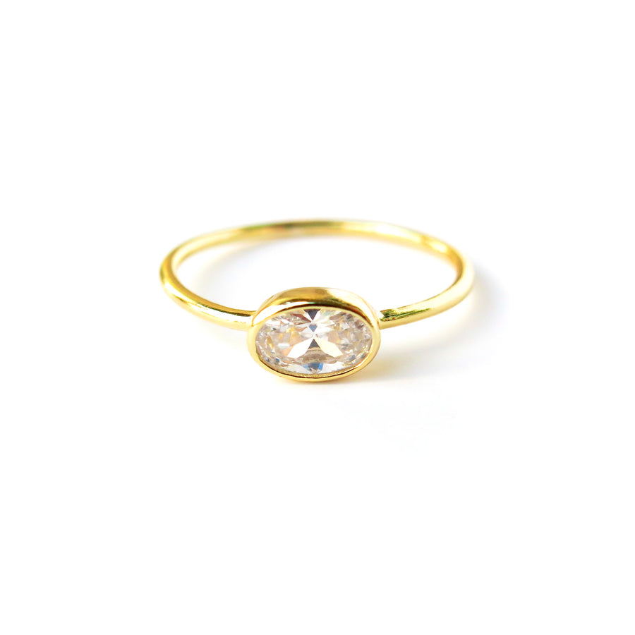 Integrity Ring with oval cubic zirconia stone set sideways on a fine band. Gold plated sterling silver.