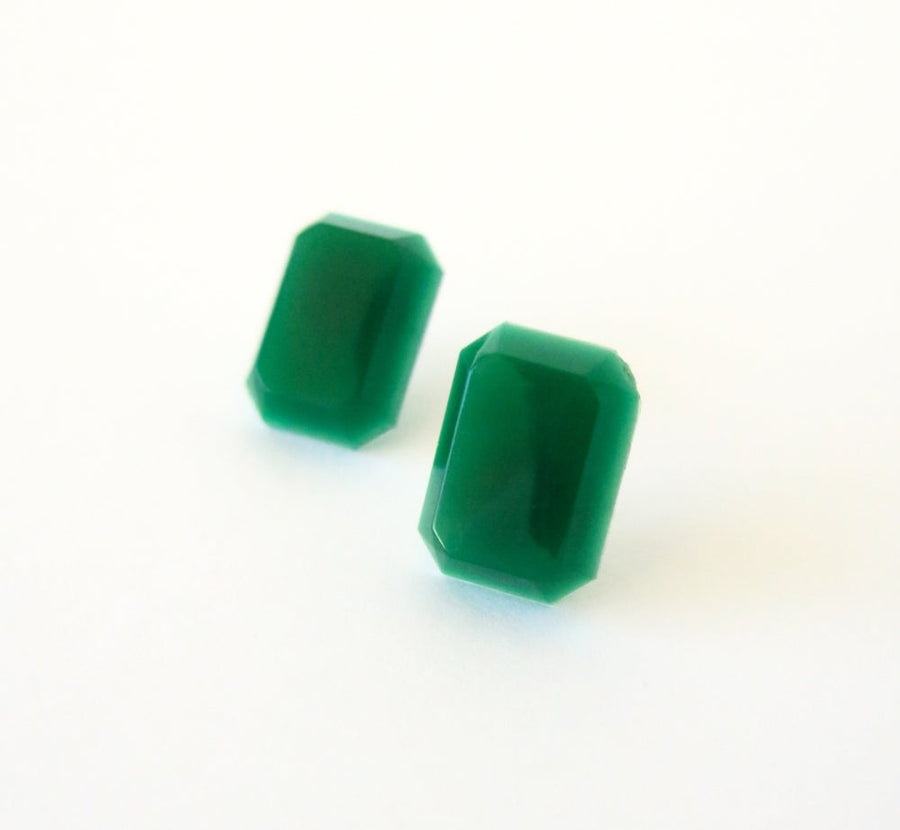 Jewel Tone Stud Earrings by MoonRox - emerald green vintage cabochons on surgical steel posts.
