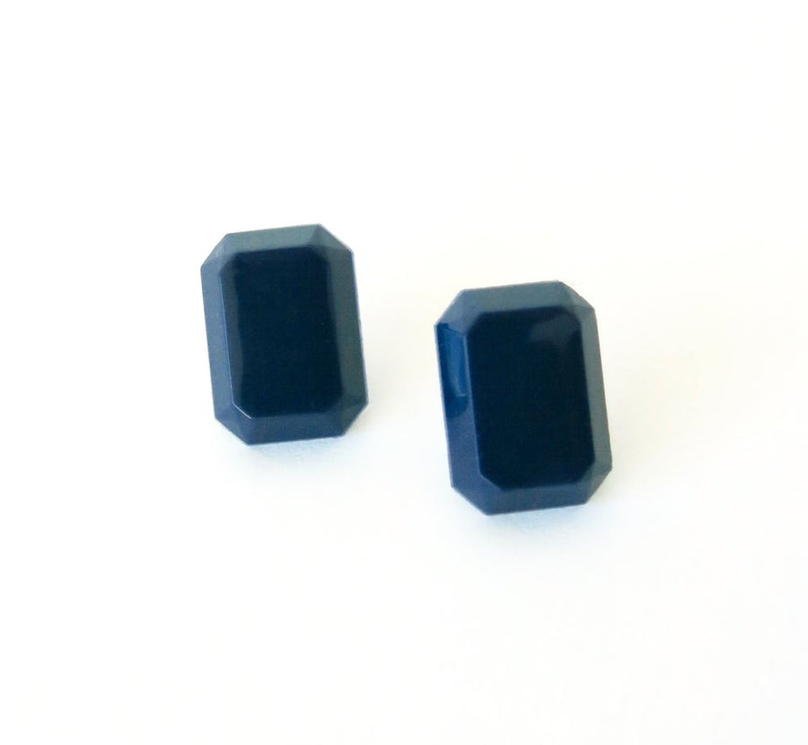 Jewel Tone Stud Earrings by MoonRox - sapphire blue vintage cabochons on surgical steel posts.