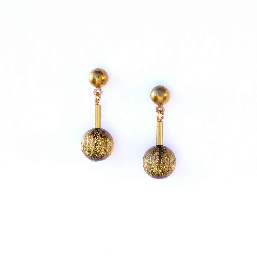 Last Dance Stud Earrings by MoonRox - small stud earrings with glittered lucite bead.