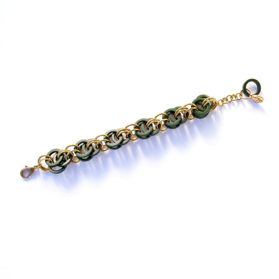 Longevity Bracelet by MoonRox Jewellery & Accessories - Vintage Bakelite is intertwined with brass loops in a repeated pattern in this chain maille style bracelet.