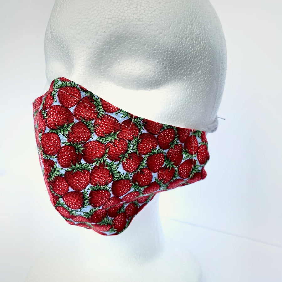 MoonRox fabric face covering with fitted nose wire. Washable and re-usable mask in strawberry print. Handmade in Toronto, Canada.