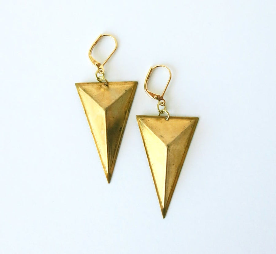 Monument Earrings by MoonRox - Three-dimensional triangular brass form with lever back ear wires.