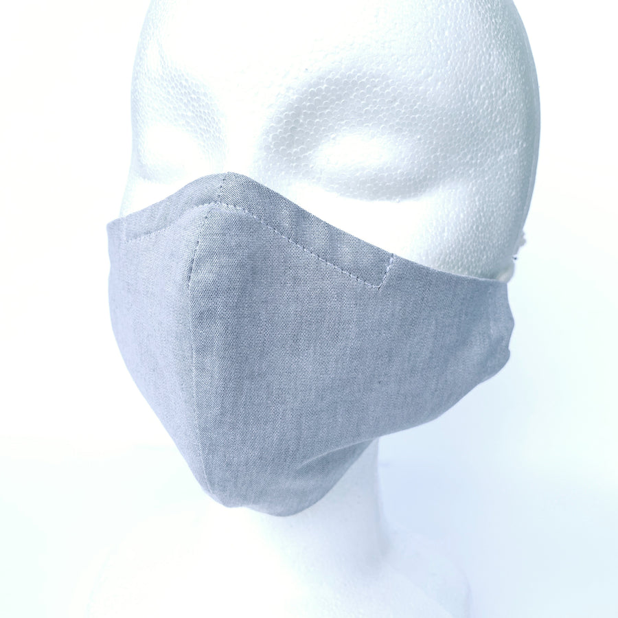 Washable non-medical fabric mask in light grey cotton shown on face.