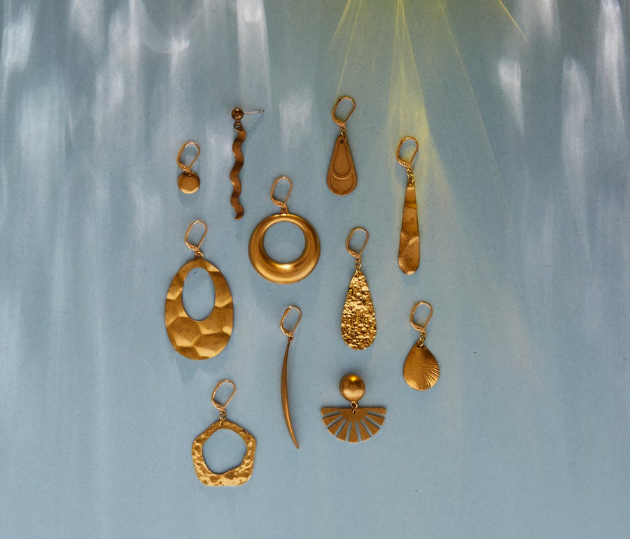 A selection of brass earrings by MoonRox Jewellery & Accessories - made in Toronto, Canada