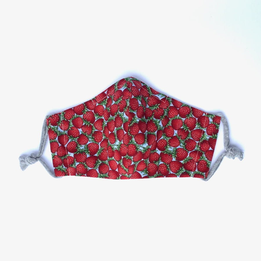 MoonRox fabric face covering in strawberry print. Handmade in Toronto, Canada.