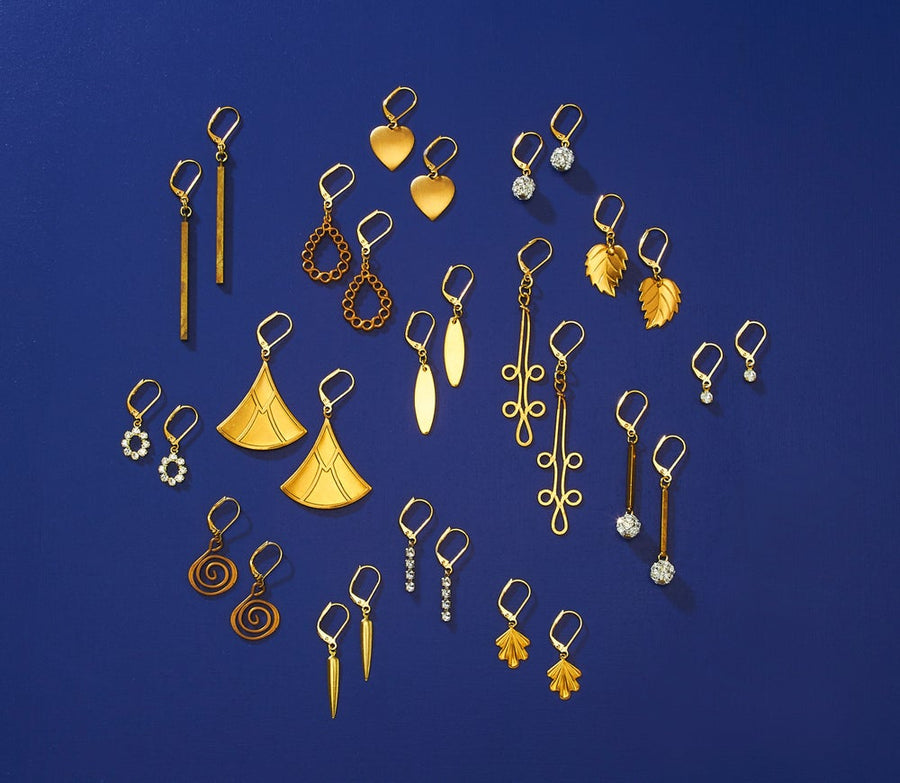 MoonRox Earring options with brass and crystal rhinestone charms.