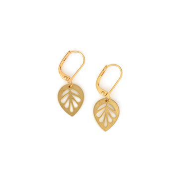 MoonRox Mulberry Leaf Earrings are brass charm earrings with graphic leaf design.