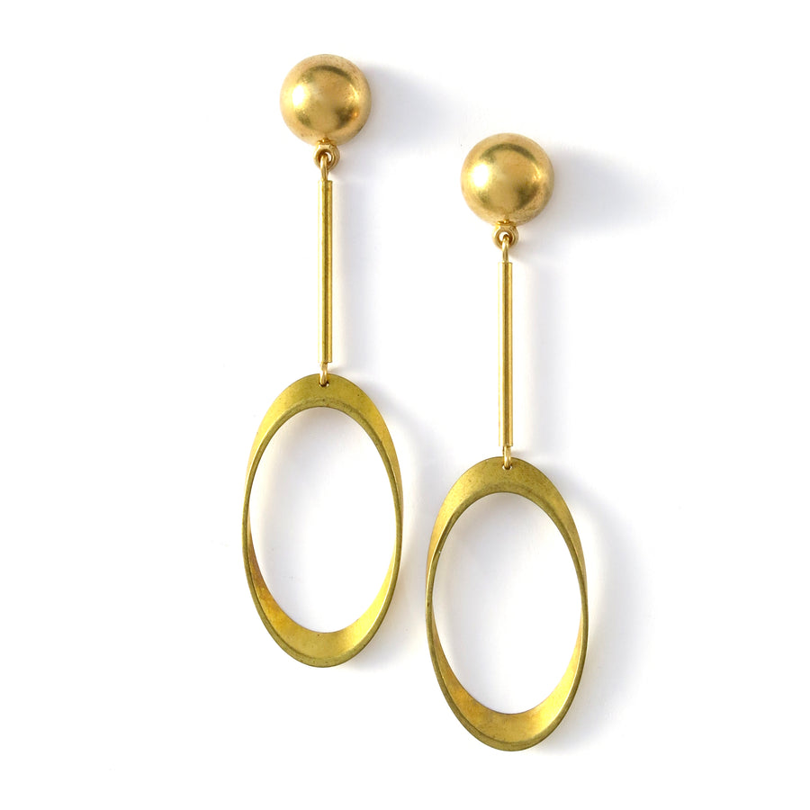 Muse Earrings by MoonRox - Brass stud earrings with linear rods and a large open oval at the base.