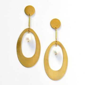 Noble Stud Earrings by MoonRox feature bold brass forms and freshwater pearls