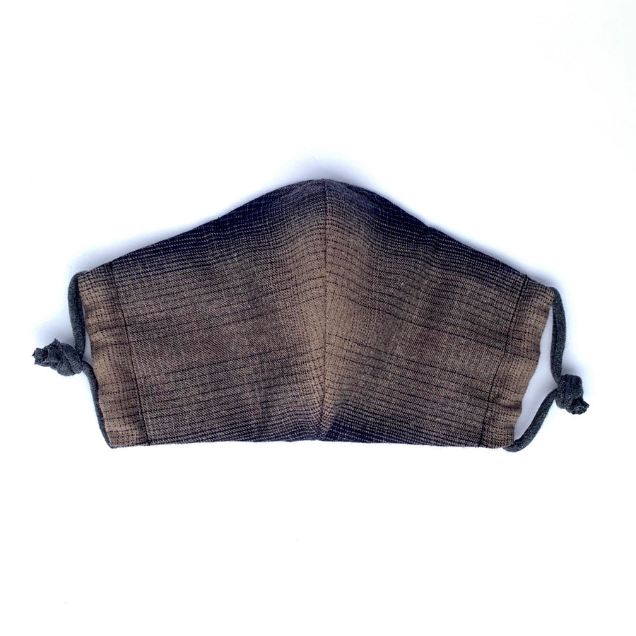 Non-Surgical Fabric Mask - Washable non-medical PPE in Black & Brown plaid flannel with filter pocket. Made in Canada.