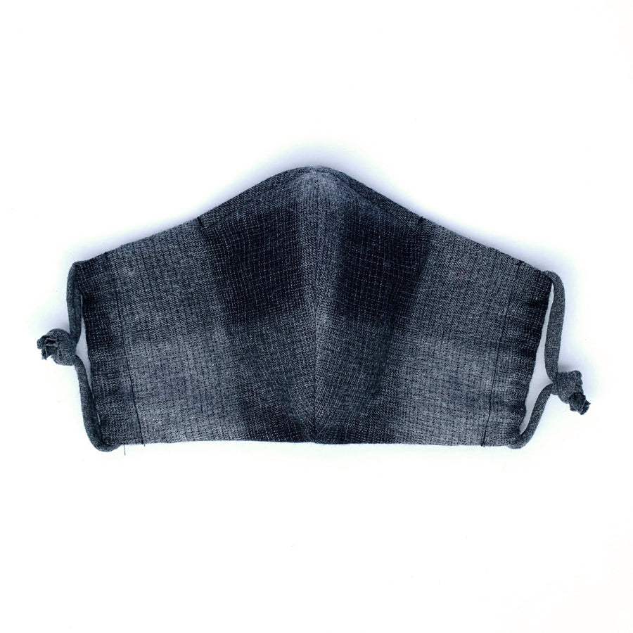 Non-Surgical Washable PPE Fabric Mask in Black & Grey Plaid Flannel