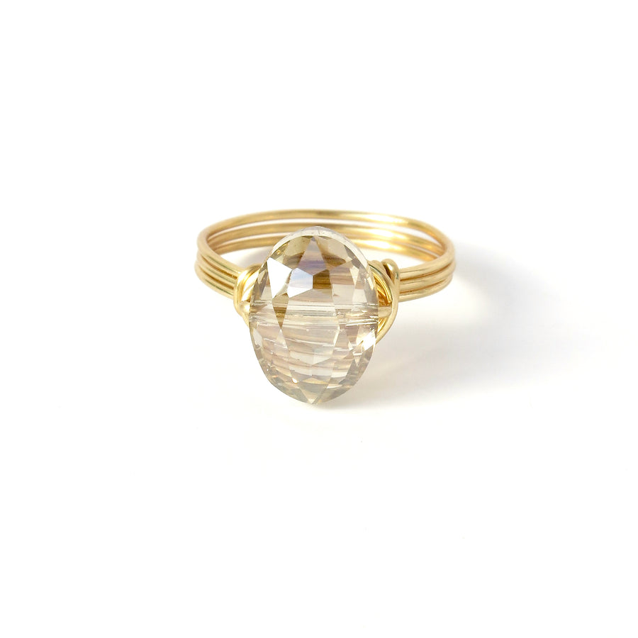 Oval Crystal Bauble Ring by MoonRox is a hand formed wire ring with sparkling crystal bead. Shown in Golden colour.