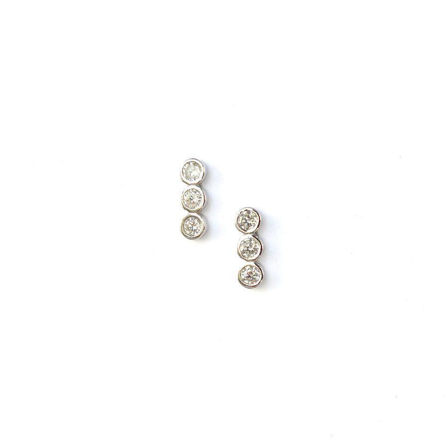 Pebble Stud Earrings feature a row of cubic zirconia stones set in 925 sterling silver.