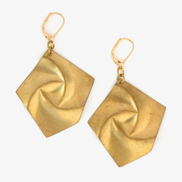 Pinnacle Earrings are 5 sided brass charm earrings with a swirl pattern.