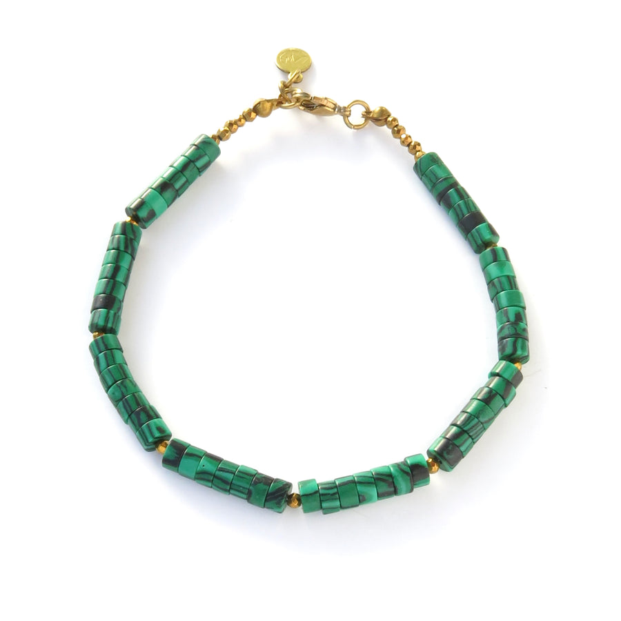 Polished Bracelets feature a combination of smooth round disc shaped beads in imitation malachite and faceted coated hematite accents.