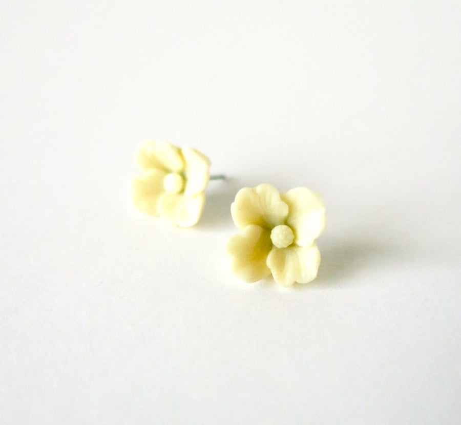 Posy Stud Earrings are pretty flower earrings made of vintage celluloid.