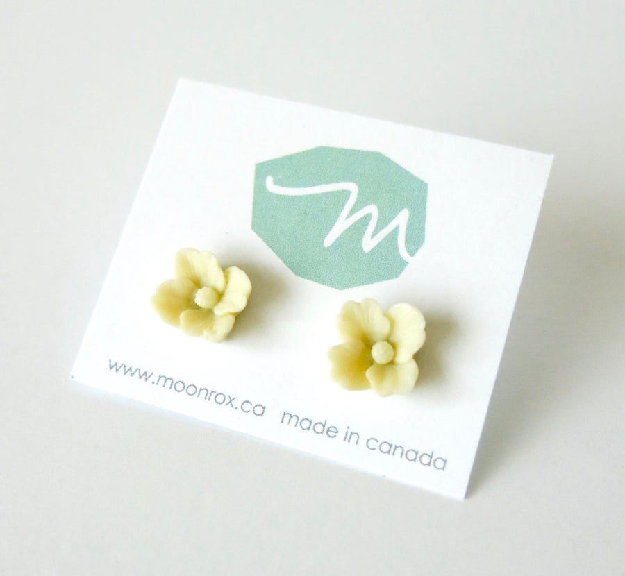 These MoonRox bestsellers are pretty ivory coloured celluloid stud earrings.