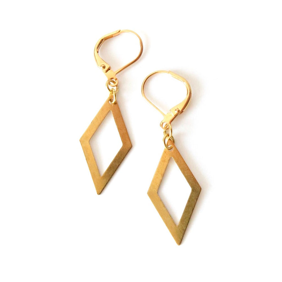 Quadra Earrings by MoonRox Jewellery & Accessories are simple and lightweight brass diamond shaped charms hanging from lever back ear wires.