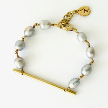 Raise the Bar Bracelet by MoonRox Jewellery & Accessories - Freshwater pearls in organic shapes are hand wired to a sleek brass bar.